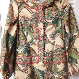 Boho Floral Cream Tapestry Button Dress S